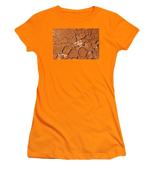 Women's T-Shirt (Junior Cut) featuring the photograph Cracked Red Soil  by Les Palenik
