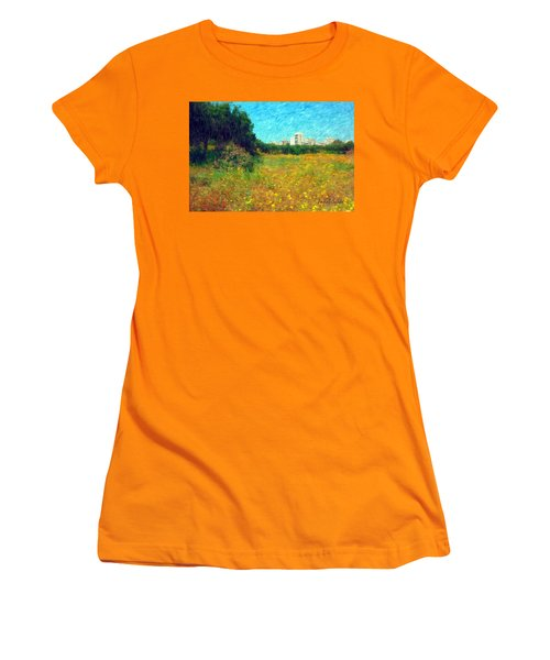 Women's T-Shirt (Athletic Fit) featuring the photograph Do-00479 Bois Des Pins - Impressionist by Digital Oil