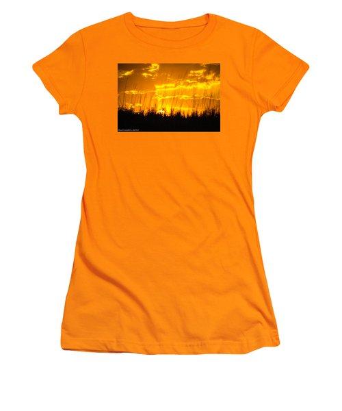 Women's T-Shirt (Junior Cut) featuring the photograph Firey Sunset by Shannon Harrington