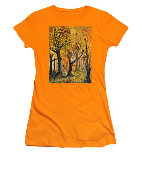 Women's T-Shirt (Junior Cut) featuring the painting Foliage by Evelina Popilian