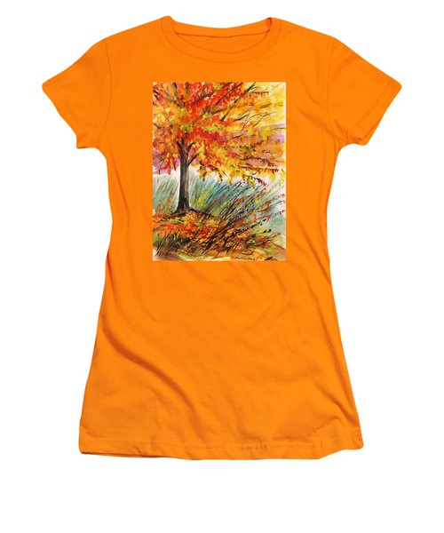 Women's T-Shirt (Junior Cut) featuring the painting Gold On A Blue Day by John Williams