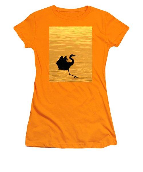 Women's T-Shirt (Junior Cut) featuring the photograph Great Blue Heron Landing In Golden Light by Randall Branham