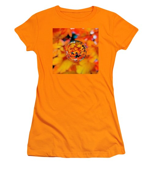 Marbled Orange Maple Leaves Women's T-Shirt (Athletic Fit)