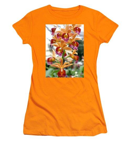 Women's T-Shirt (Junior Cut) featuring the photograph Orange Orchids by Debbie Hart