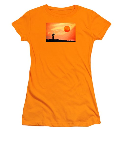 Women's T-Shirt (Junior Cut) featuring the photograph Pelican During Hot Day by Dan Friend