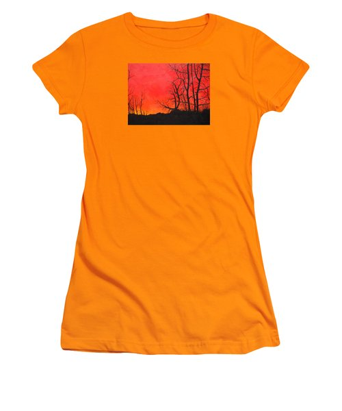 Women's T-Shirt (Junior Cut) featuring the painting Red Sky  by Dan Whittemore