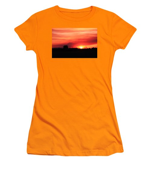 Women's T-Shirt (Junior Cut) featuring the photograph Sunset by Johanna Bruwer
