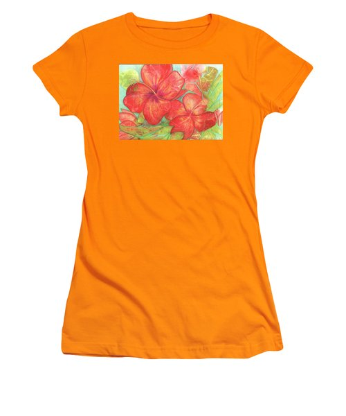 Two Hibiscus Blossoms Women's T-Shirt (Junior Cut) by Carla Parris