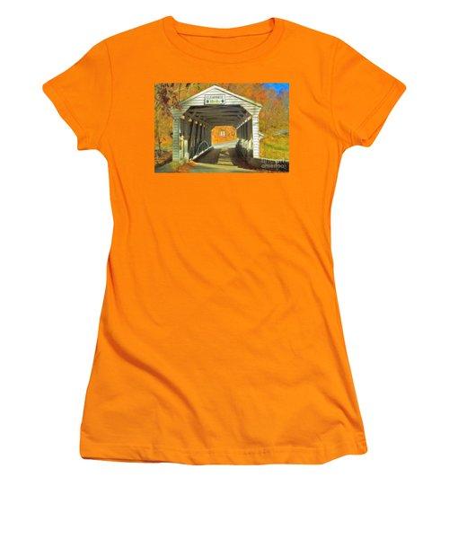 Women's T-Shirt (Junior Cut) featuring the photograph  Covered Bridge Watercolor  by David Zanzinger