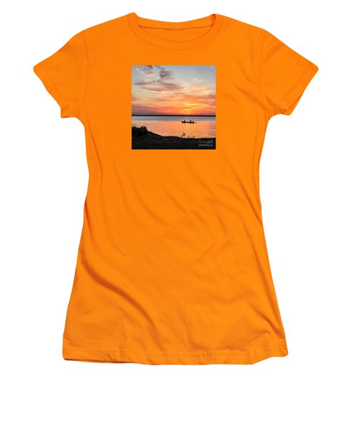 Women's T-Shirt (Junior Cut) featuring the photograph Boating Sunset by Cheryl McClure