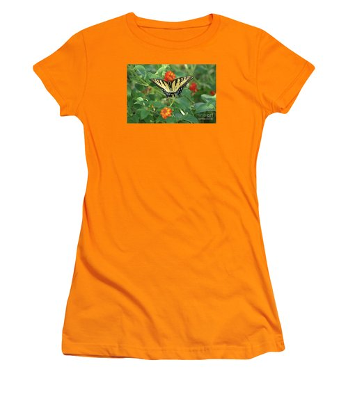 Women's T-Shirt (Junior Cut) featuring the photograph Butterfly And Flower by Debra Crank