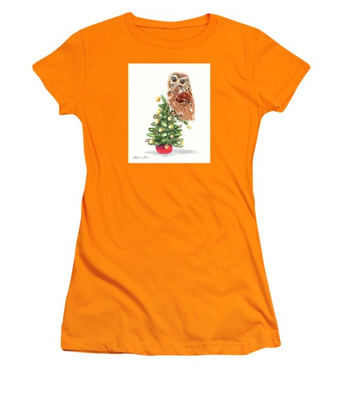 Christmas Owl Women's T-Shirt (Junior Cut) by LeAnne Sowa