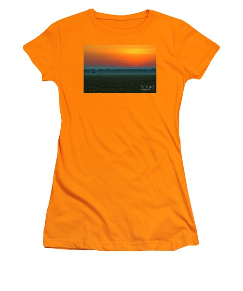 Women's T-Shirt (Junior Cut) featuring the photograph Masai Mara Sunrise by Karen Lewis