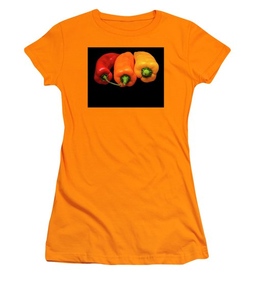Women's T-Shirt (Junior Cut) featuring the photograph Peppers Red Yellow Orange by David French