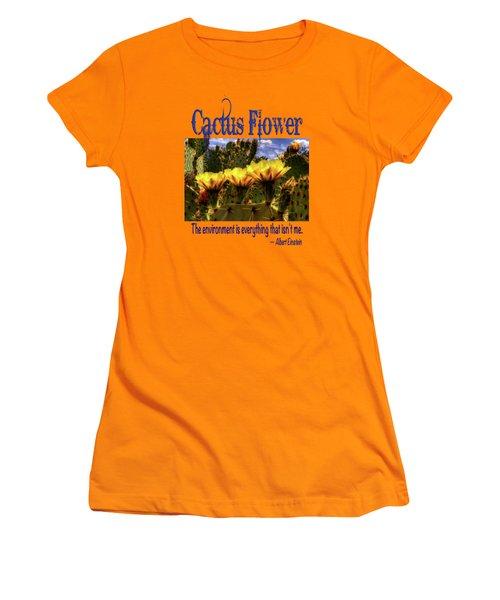 Prickly Pear Cactus Flowers Women's T-Shirt (Junior Cut) by Roger Passman