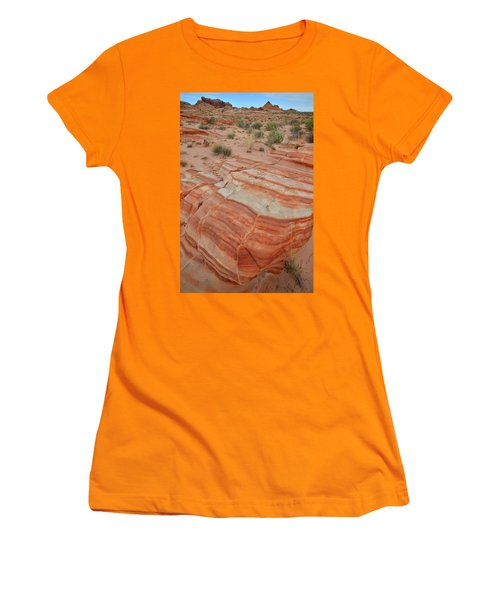 Women's T-Shirt (Junior Cut) featuring the photograph Sandstone Stripes In Valley Of Fire by Ray Mathis