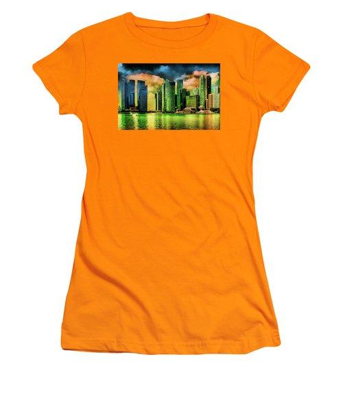 Singapore Skyline Women's T-Shirt (Junior Cut) by Joseph Hollingsworth