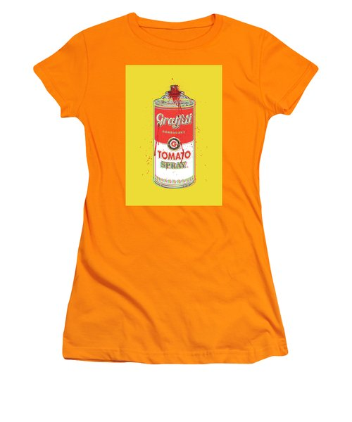 Tomato Spray Can Women's T-Shirt (Junior Cut) by Gary Grayson