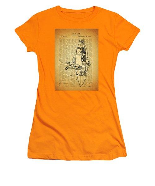 1884 Submarine Ship Patent Women's T-Shirt (Junior Cut) by Dan Sproul