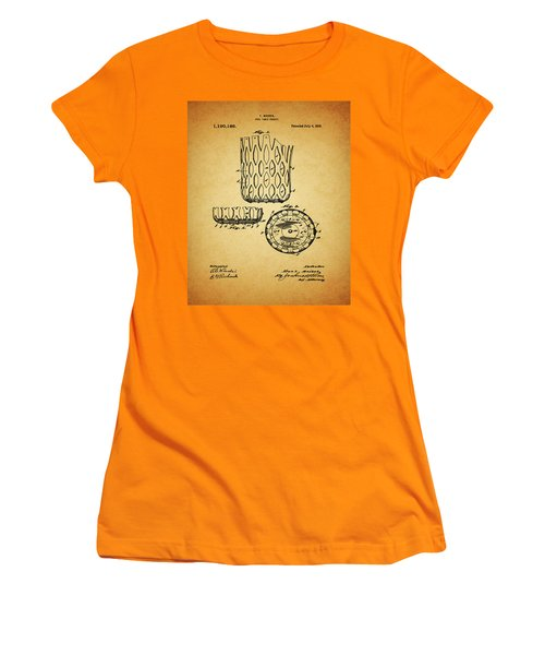 Women's T-Shirt (Junior Cut) featuring the mixed media 1916 Pool Table Pocket Patent by Dan Sproul
