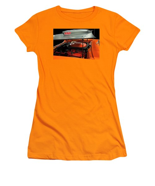 Women's T-Shirt (Athletic Fit) featuring the painting 1969 Plymouth Road Runner A12 440 6 Pack by Chris Flees