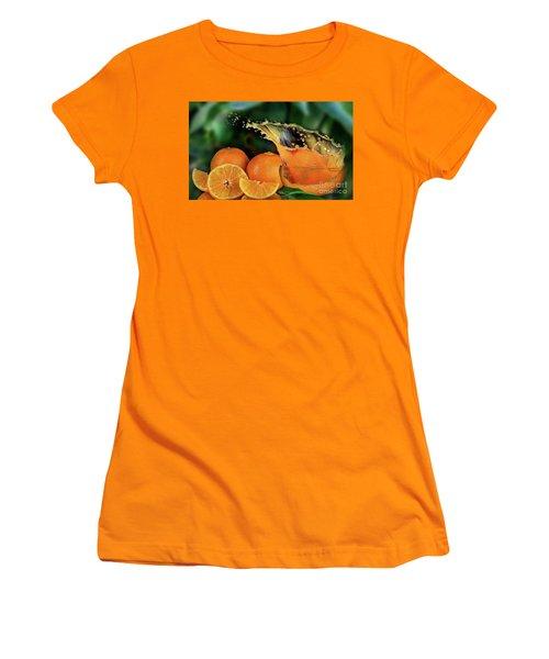 Orange Splash Women's T-Shirt (Junior Cut) by Shirley Mangini