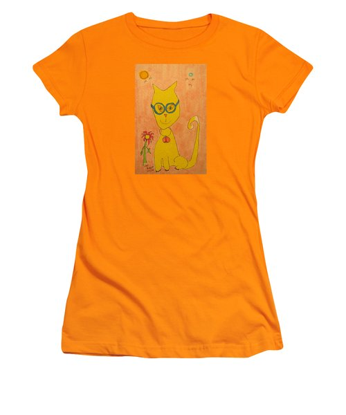 Yellow Cat With Glasses Women's T-Shirt (Athletic Fit)