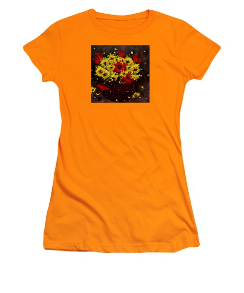 Women's T-Shirt (Junior Cut) featuring the painting A Bunch Of Happiness.. by Cristina Mihailescu