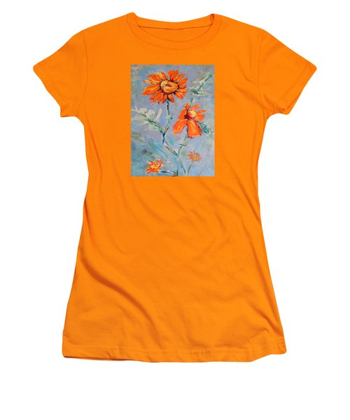 Women's T-Shirt (Junior Cut) featuring the painting A Glow by Mary Schiros