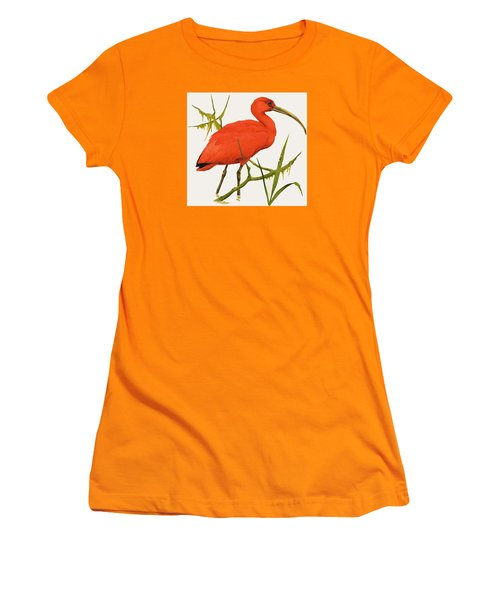 A Scarlet Ibis From South America Women's T-Shirt (Junior Cut) by Kenneth Lilly