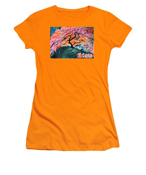 A Splendid Japanese Maple Tree Women's T-Shirt (Junior Cut) by Esther Newman-Cohen