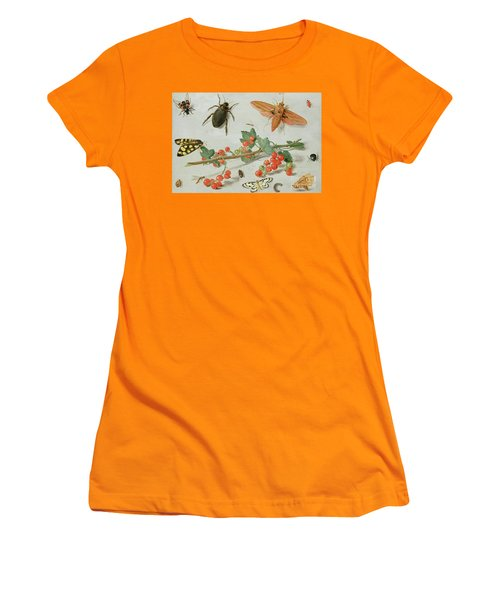 A Sprig Of Redcurrants With An Elephant Hawk Moth, A Magpie Moth And Other Insects, 1657 Women's T-Shirt (Athletic Fit)
