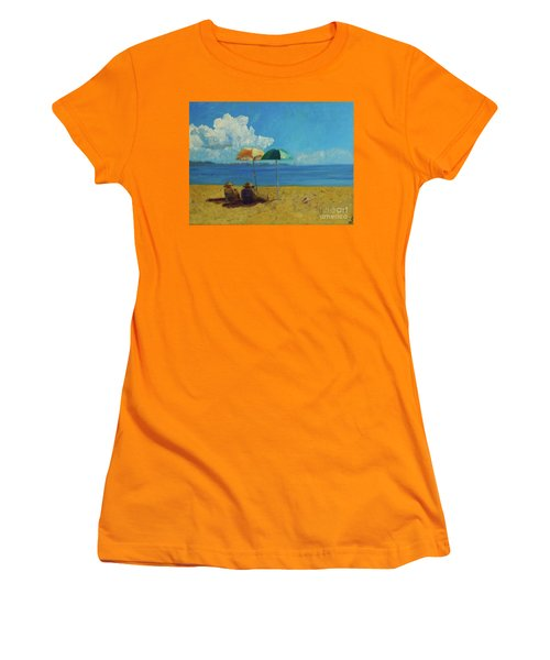 Women's T-Shirt (Junior Cut) featuring the painting A Vacant Lot - Byron Bay by Paul McKey