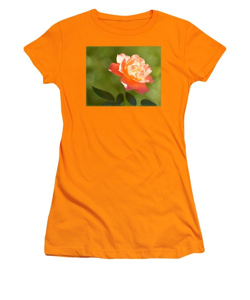 Women's T-Shirt (Athletic Fit) featuring the photograph A Well Lighted Rose by AJ Schibig