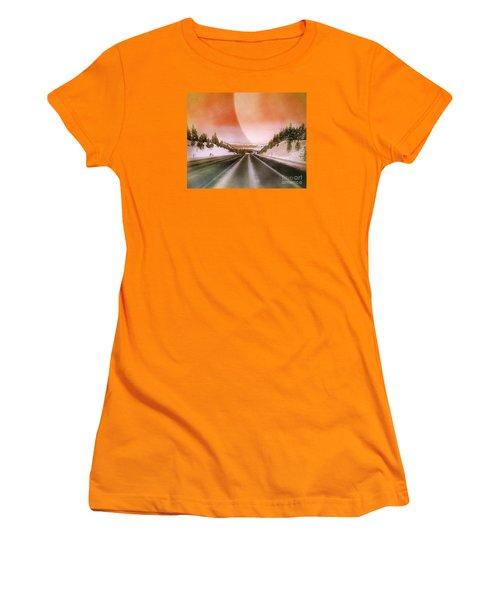 A December Drive 3 - Digital Artwork Women's T-Shirt (Junior Cut) by Janie Johnson
