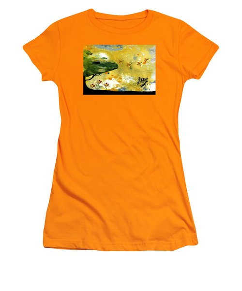 Abstract Acrylic Painting Spring Dance Women's T-Shirt (Junior Cut) by Saribelle Rodriguez