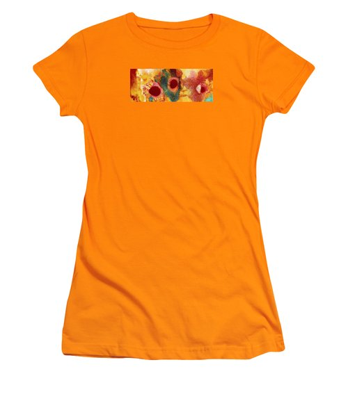 Abstract Red Flower Garden Panoramic Women's T-Shirt (Athletic Fit)
