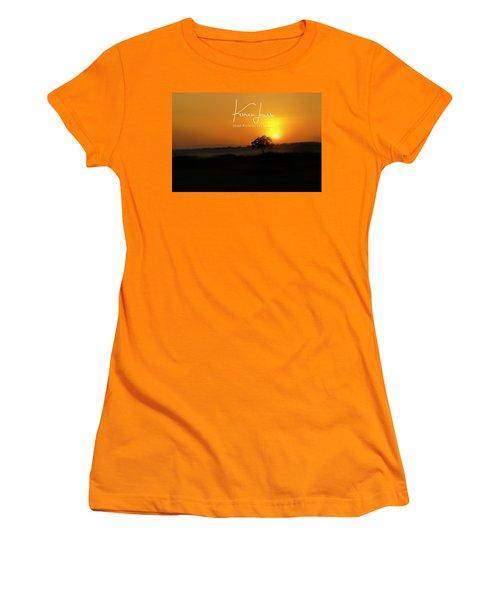 Women's T-Shirt (Junior Cut) featuring the photograph Acacia Tree Sunrise by Karen Lewis