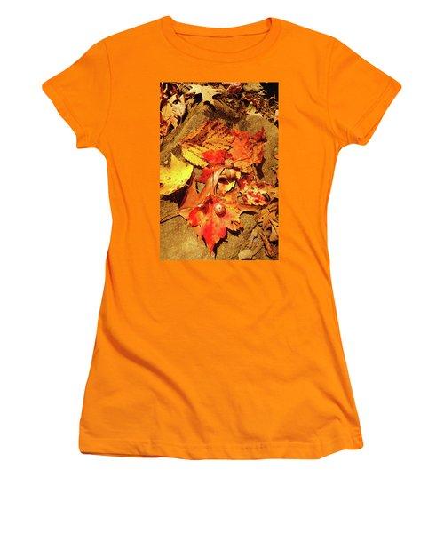 Women's T-Shirt (Junior Cut) featuring the photograph Acorns Fall Maple Leaf by Meta Gatschenberger