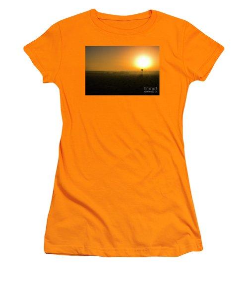 Women's T-Shirt (Junior Cut) featuring the photograph African Balloon Sunrise by Karen Lewis