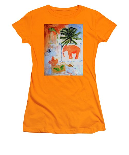 Women's T-Shirt (Junior Cut) featuring the painting All Creatures Great And Small by Sandy McIntire