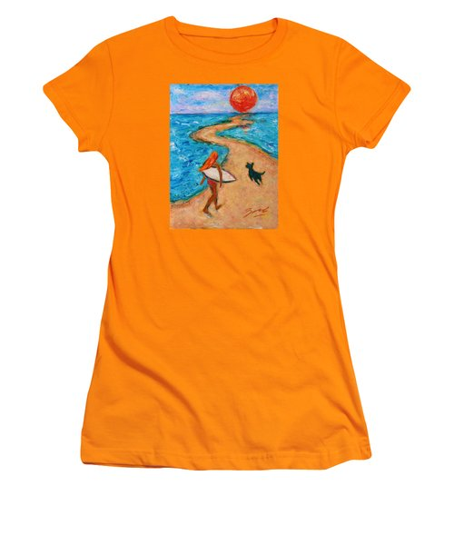 Women's T-Shirt (Athletic Fit) featuring the painting Aloha Surfer by Xueling Zou