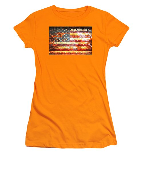 American Flag On Rusted Riveted Metal Door Women's T-Shirt (Athletic Fit)