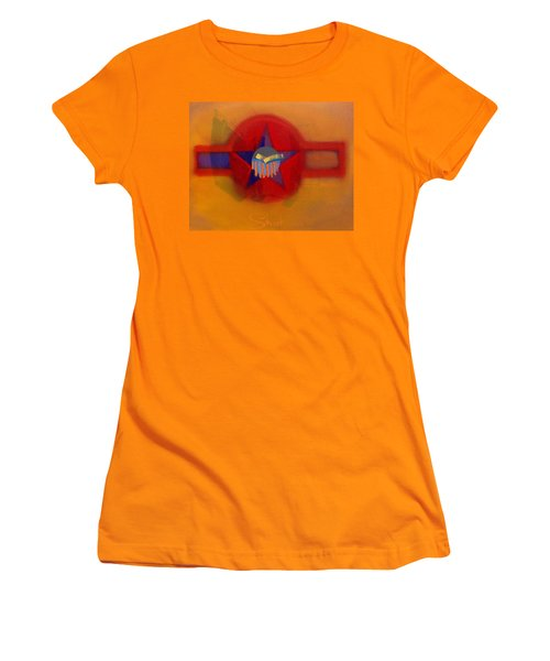 Women's T-Shirt (Junior Cut) featuring the painting American Sub Decal by Charles Stuart