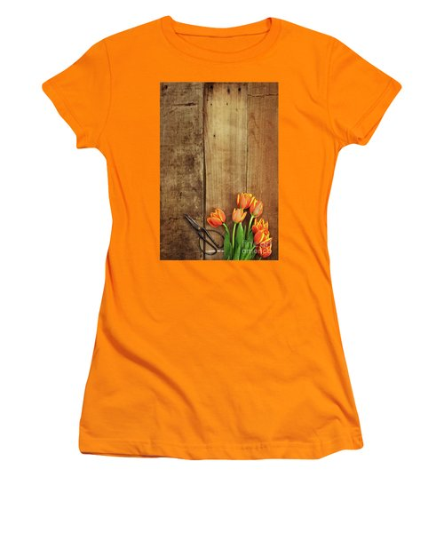 Women's T-Shirt (Junior Cut) featuring the photograph Antique Scissors And Tulips by Stephanie Frey