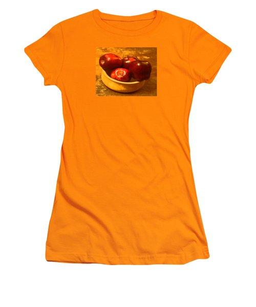 Women's T-Shirt (Junior Cut) featuring the digital art Apples In A Bowl by Walter Chamberlain