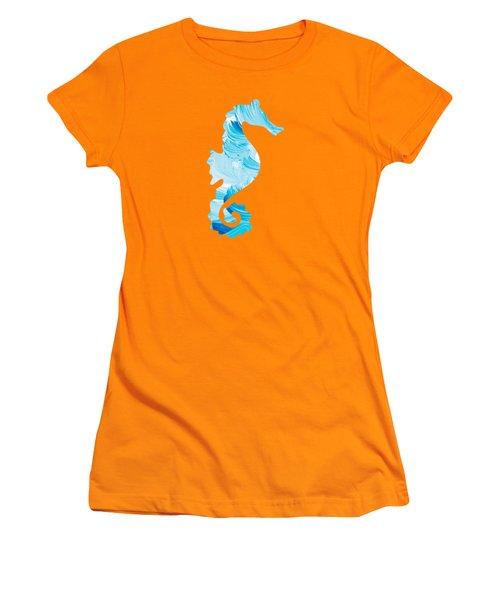 Aqua Abstract Painting Women's T-Shirt (Junior Cut) by Christina Rollo