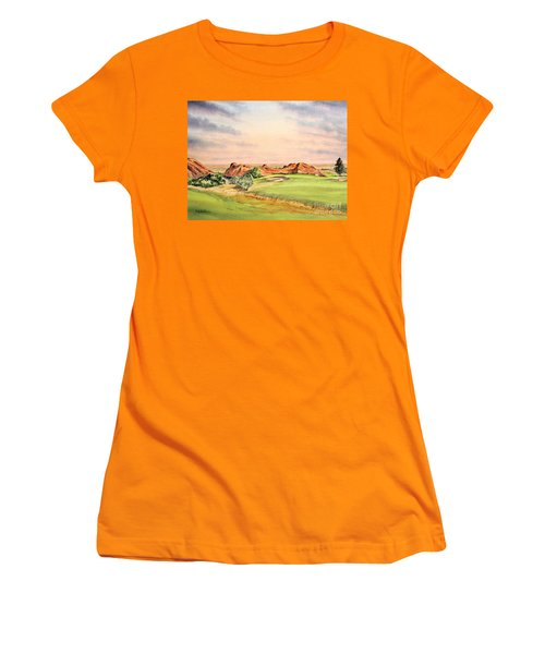 Women's T-Shirt (Athletic Fit) featuring the painting Arrowhead Golf Course Colorado Hole 3 by Bill Holkham