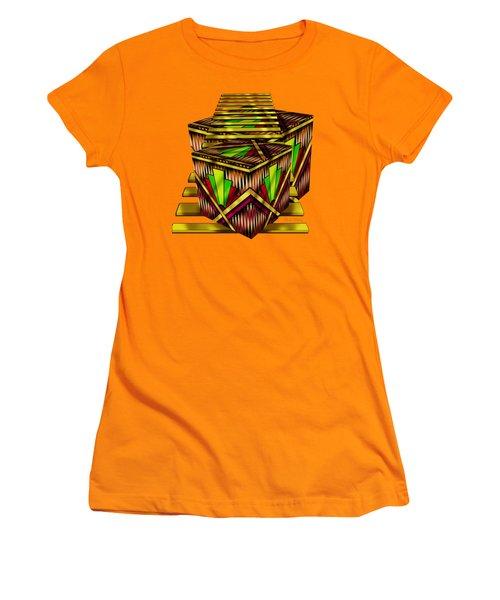 Art Deco Cubes 2 - Transparent Women's T-Shirt (Junior Cut) by Chuck Staley