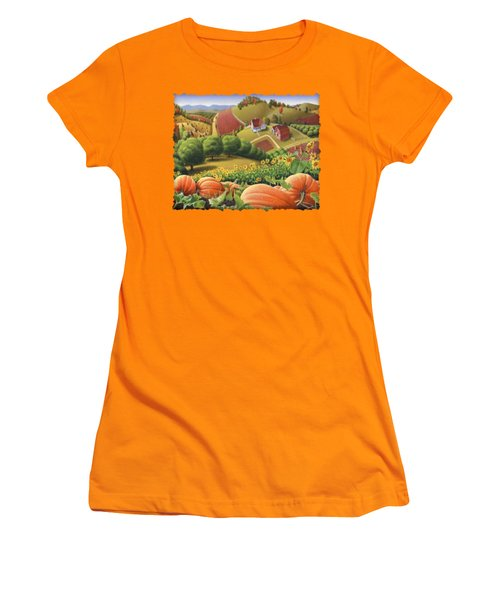 Farm Landscape - Autumn Rural Country Pumpkins Folk Art - Appalachian Americana - Fall Pumpkin Patch Women's T-Shirt (Junior Cut) by Walt Curlee